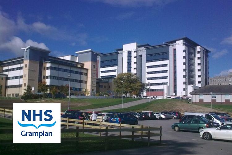 Image of Aberdeen Royal Infirmary including NHS Grampian logo